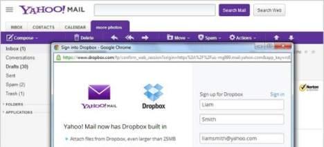 yahoo mail y dropbox