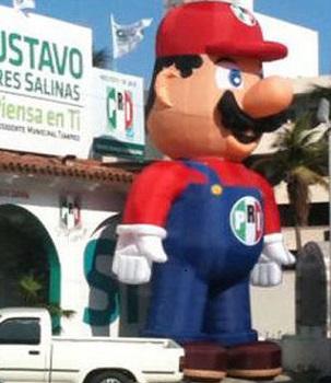 alcalde de Tampico viste a la mascota de Nintendo